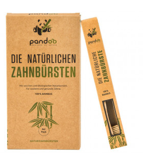 Cepillo de dientes de bambú para adulto PANDOO Pack de 4