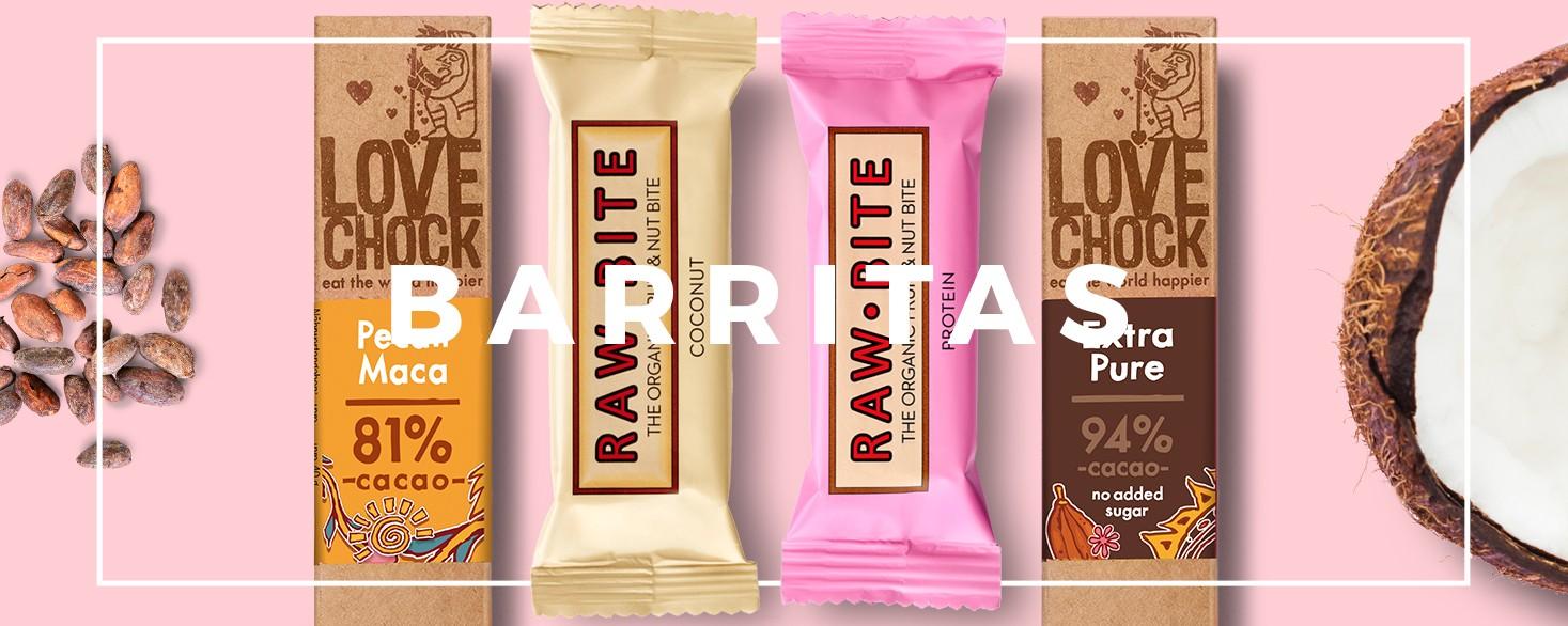 Barritas energéticas y barritas de cacao ecológico